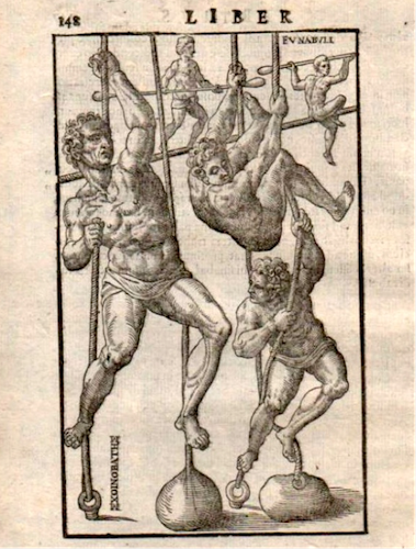 Climbing and balancing practice as depicted in De Arte Gymnastica.