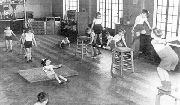 First grade physical education in America in the 50s: walking, running, balancing, jumping, crawling, rolling, climbing. Simple, effective, practical, enjoyable.